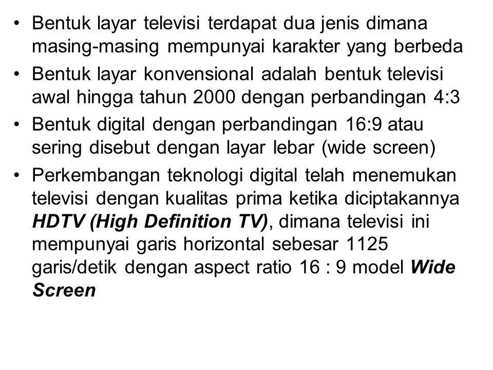 Bentuk layar televisi terdapat dua jenis dimana masing-masing mempunyai karakter yang berbeda Bentuk layar konvensional adalah bentuk televisi awal hi