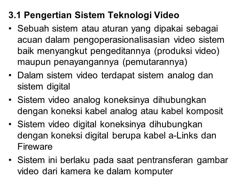 3.1 Pengertian Sistem Teknologi Video Sebuah sistem atau aturan yang dipakai sebagai acuan dalam pengoperasionalisasian video sistem baik menyangkut p