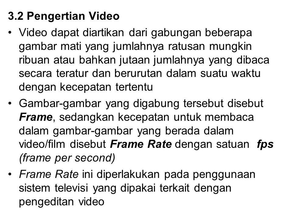 3.2 Pengertian Video Video dapat diartikan dari gabungan beberapa gambar mati yang jumlahnya ratusan mungkin ribuan atau bahkan jutaan jumlahnya yang