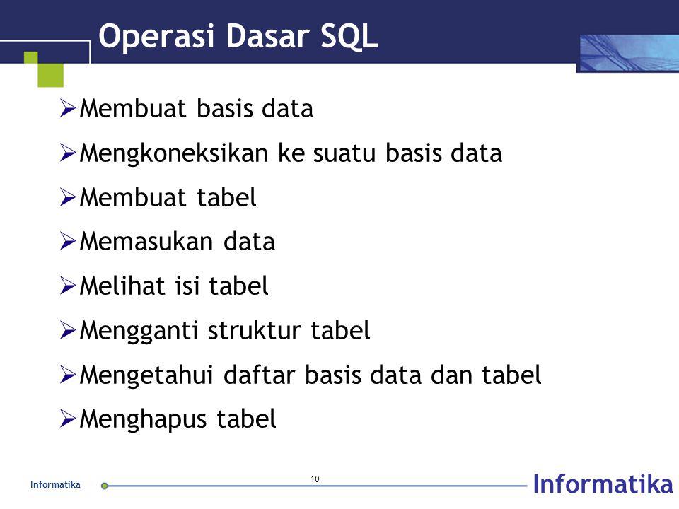 Informatika 10 Operasi Dasar SQL  Membuat basis data  Mengkoneksikan ke suatu basis data  Membuat tabel  Memasukan data  Melihat isi tabel  Mengganti struktur tabel  Mengetahui daftar basis data dan tabel  Menghapus tabel