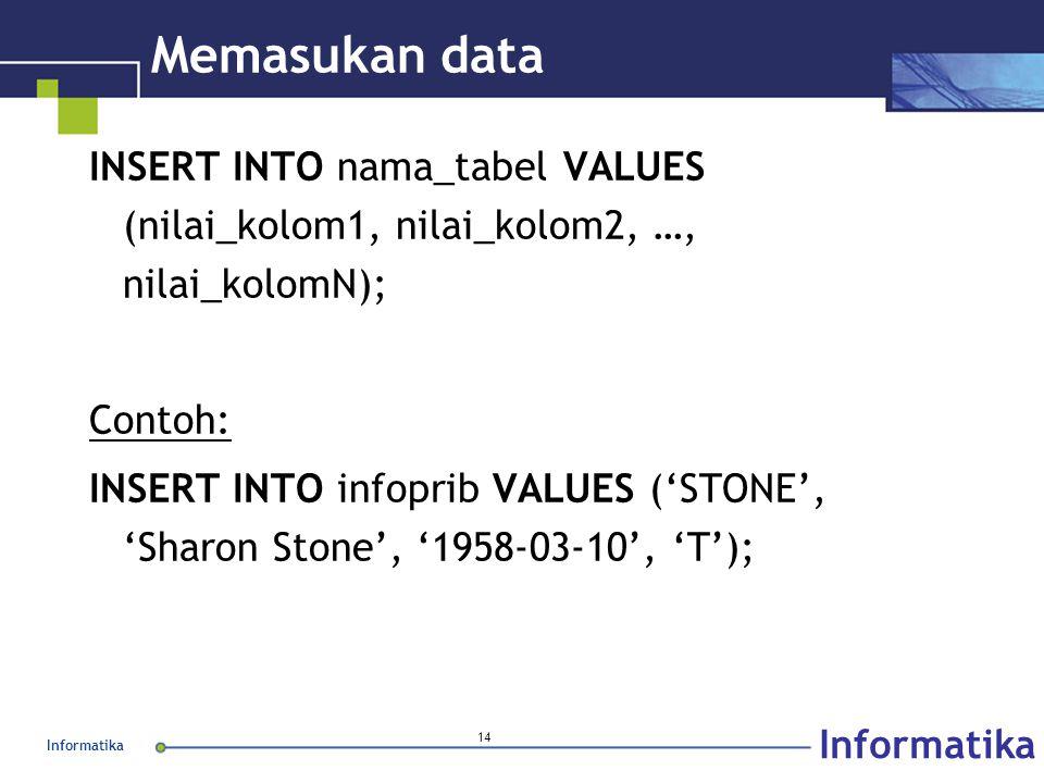 Informatika 14 Memasukan data INSERT INTO nama_tabel VALUES (nilai_kolom1, nilai_kolom2, …, nilai_kolomN); Contoh: INSERT INTO infoprib VALUES ('STONE', 'Sharon Stone', '1958-03-10', 'T');