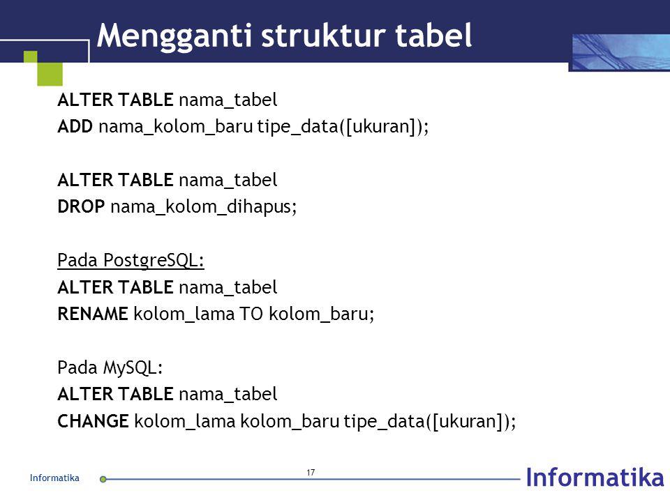 Informatika 17 Mengganti struktur tabel ALTER TABLE nama_tabel ADD nama_kolom_baru tipe_data([ukuran]); ALTER TABLE nama_tabel DROP nama_kolom_dihapus; Pada PostgreSQL: ALTER TABLE nama_tabel RENAME kolom_lama TO kolom_baru; Pada MySQL: ALTER TABLE nama_tabel CHANGE kolom_lama kolom_baru tipe_data([ukuran]);