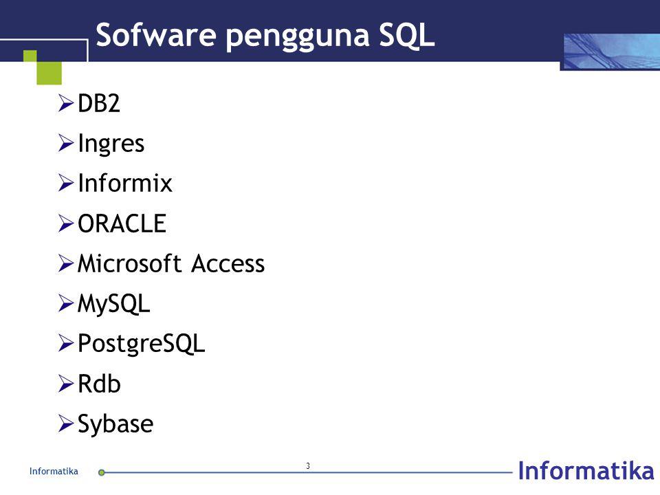 Informatika 3 Sofware pengguna SQL  DB2  Ingres  Informix  ORACLE  Microsoft Access  MySQL  PostgreSQL  Rdb  Sybase