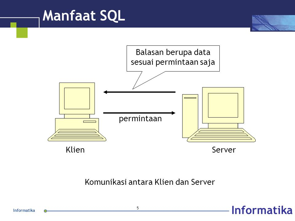 Informatika 5 Manfaat SQL KlienServer permintaan Balasan berupa data sesuai permintaan saja Komunikasi antara Klien dan Server