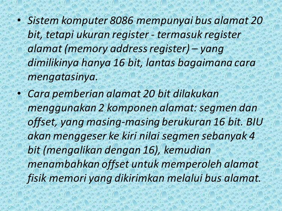 Sistem komputer 8086 mempunyai bus alamat 20 bit, tetapi ukuran register - termasuk register alamat (memory address register) – yang dimilikinya hanya 16 bit, lantas bagaimana cara mengatasinya.