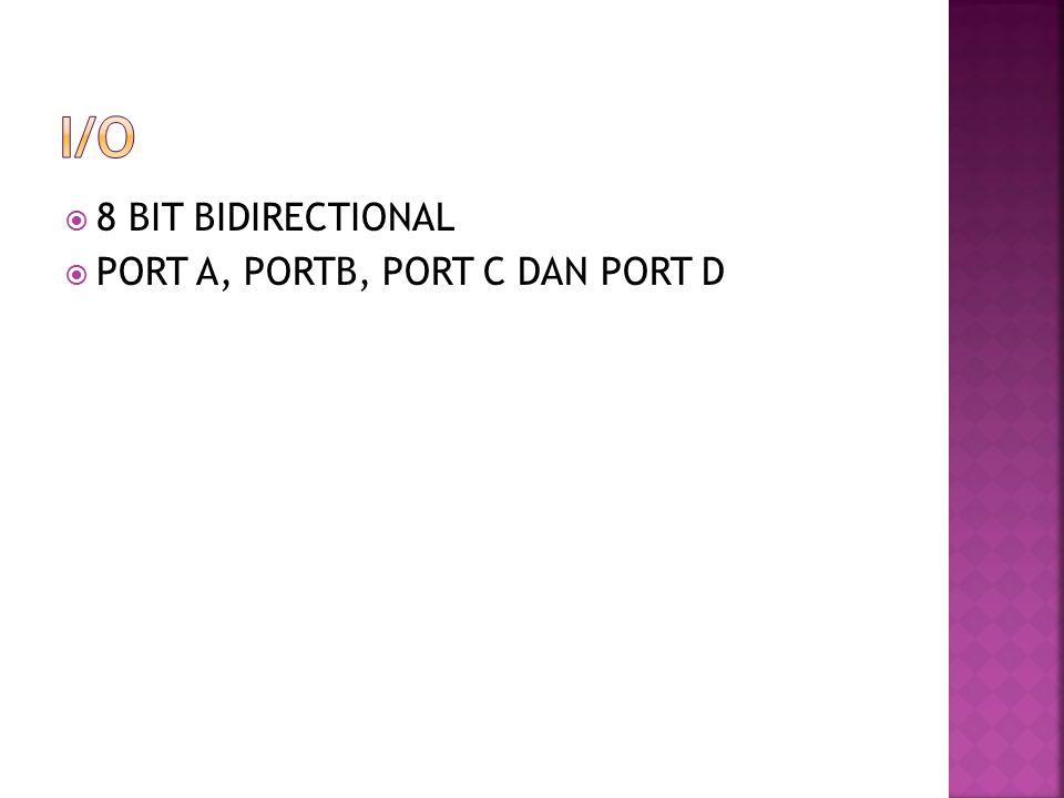  8 BIT BIDIRECTIONAL  PORT A, PORTB, PORT C DAN PORT D