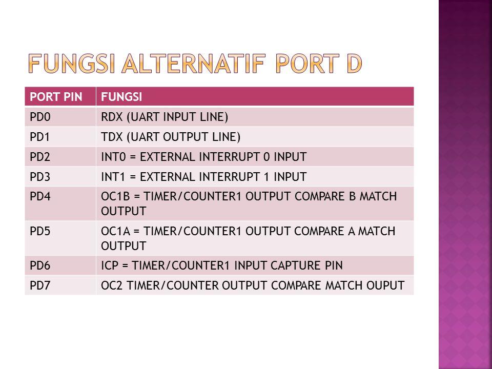PORT PINFUNGSI PD0RDX (UART INPUT LINE) PD1TDX (UART OUTPUT LINE) PD2INT0 = EXTERNAL INTERRUPT 0 INPUT PD3INT1 = EXTERNAL INTERRUPT 1 INPUT PD4OC1B = TIMER/COUNTER1 OUTPUT COMPARE B MATCH OUTPUT PD5OC1A = TIMER/COUNTER1 OUTPUT COMPARE A MATCH OUTPUT PD6ICP = TIMER/COUNTER1 INPUT CAPTURE PIN PD7OC2 TIMER/COUNTER OUTPUT COMPARE MATCH OUPUT