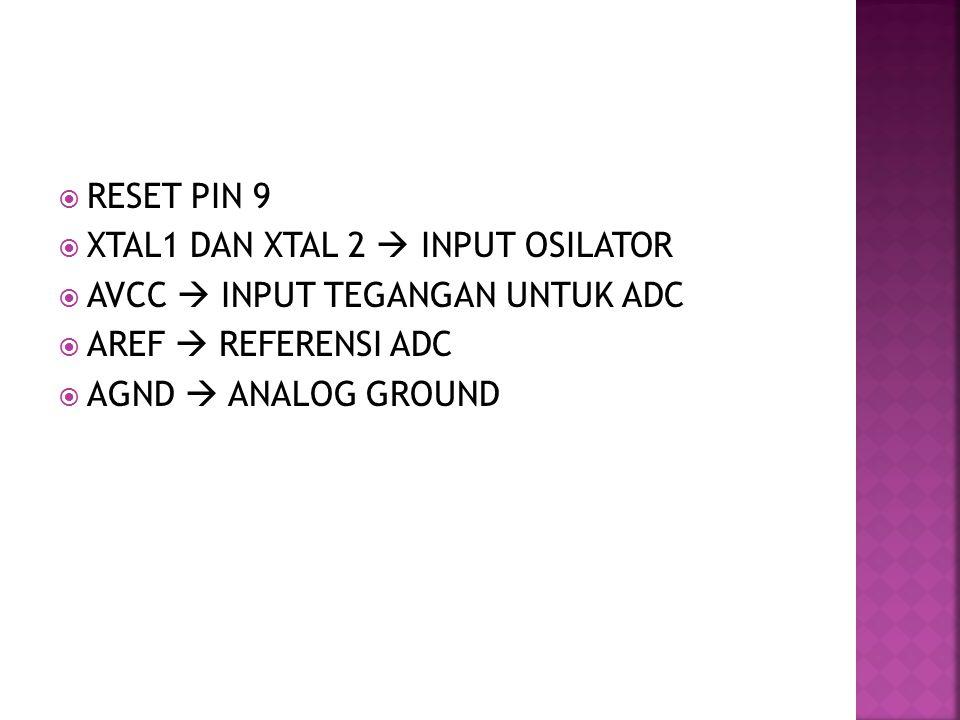  RESET PIN 9  XTAL1 DAN XTAL 2  INPUT OSILATOR  AVCC  INPUT TEGANGAN UNTUK ADC  AREF  REFERENSI ADC  AGND  ANALOG GROUND