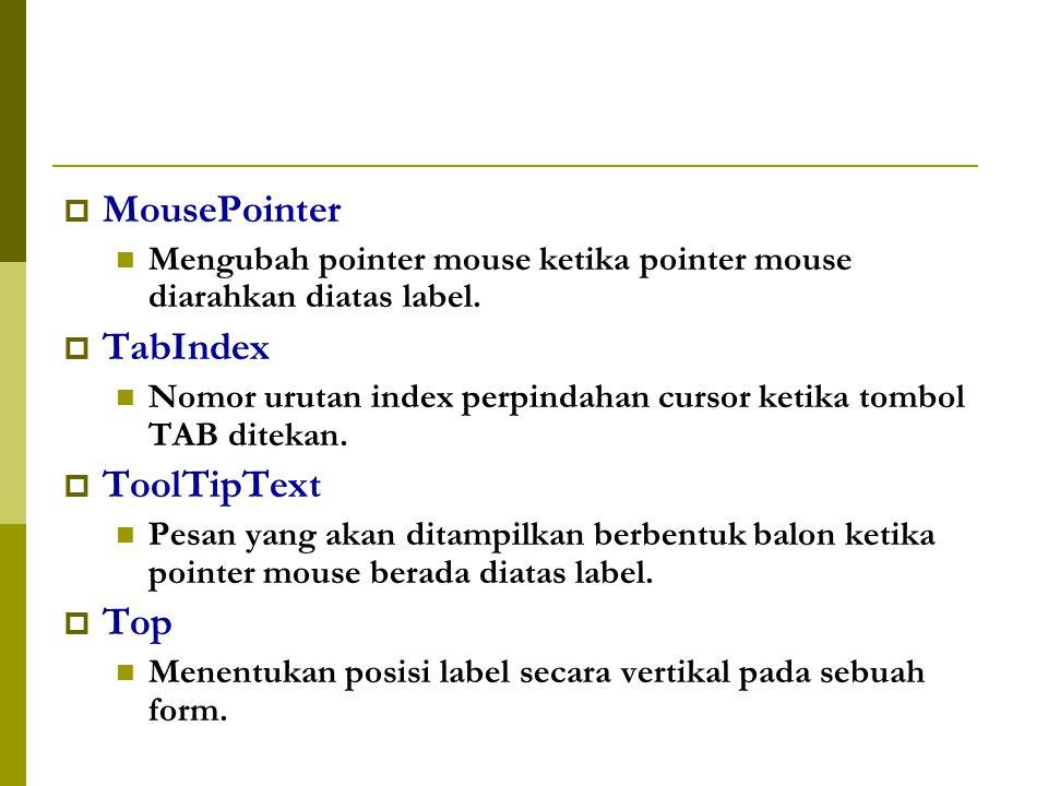  MousePointer Mengubah pointer mouse ketika pointer mouse diarahkan diatas label.