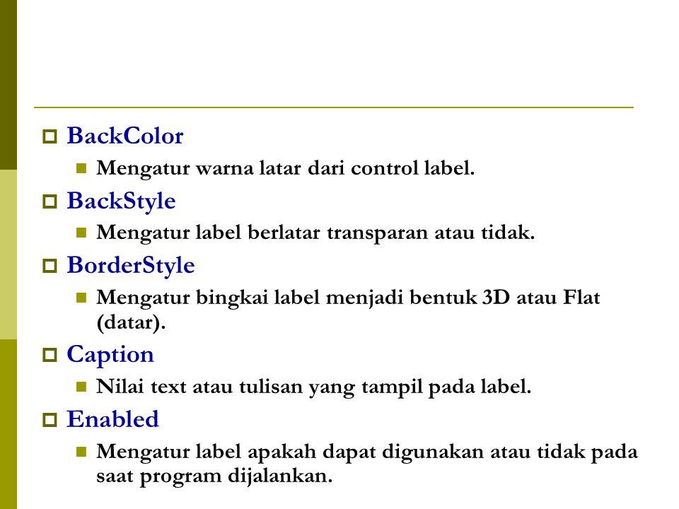  BackColor Mengatur warna latar dari control label.
