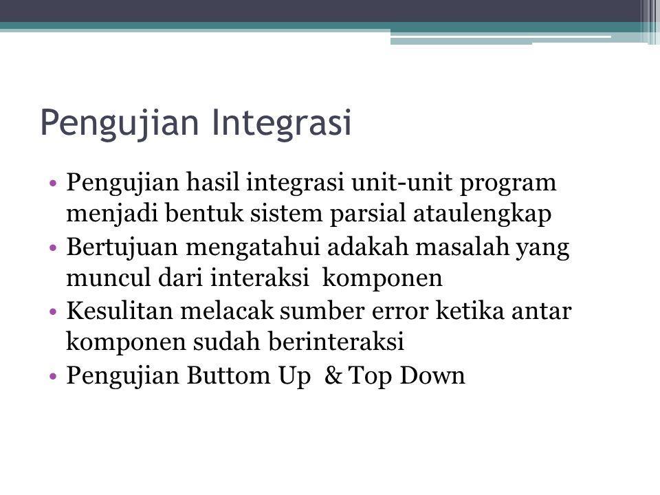 Pengujian Integrasi Pengujian hasil integrasi unit-unit program menjadi bentuk sistem parsial ataulengkap Bertujuan mengatahui adakah masalah yang mun