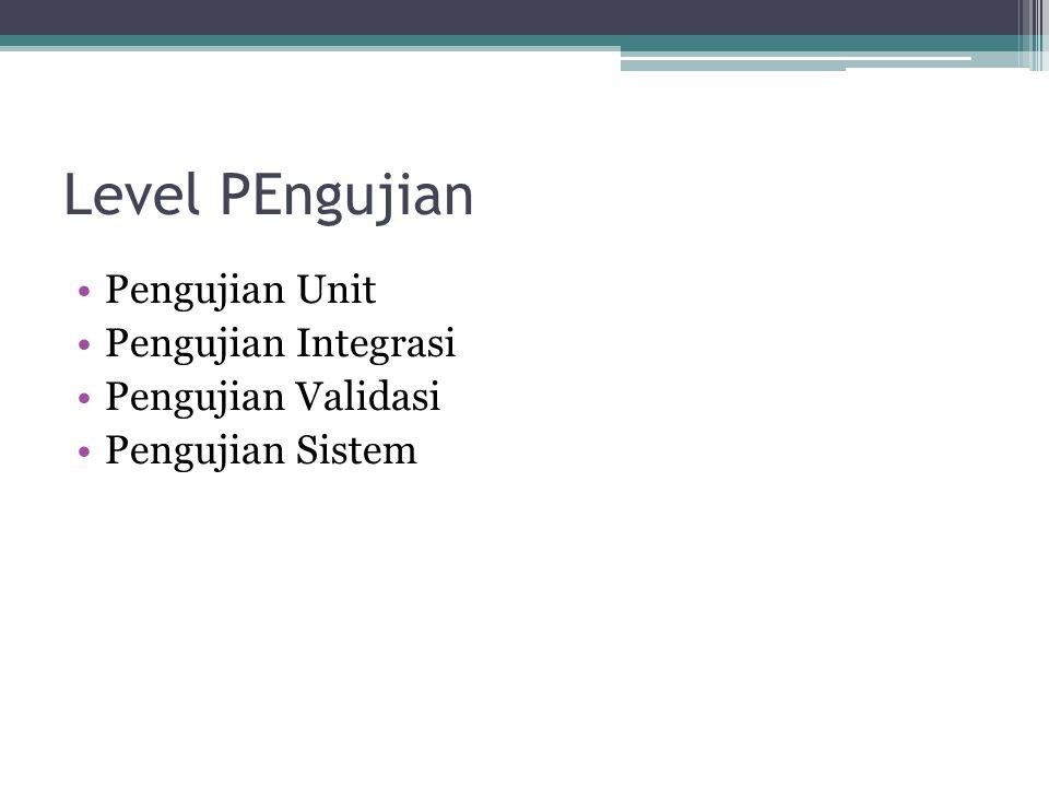 Level PEngujian Pengujian Unit Pengujian Integrasi Pengujian Validasi Pengujian Sistem