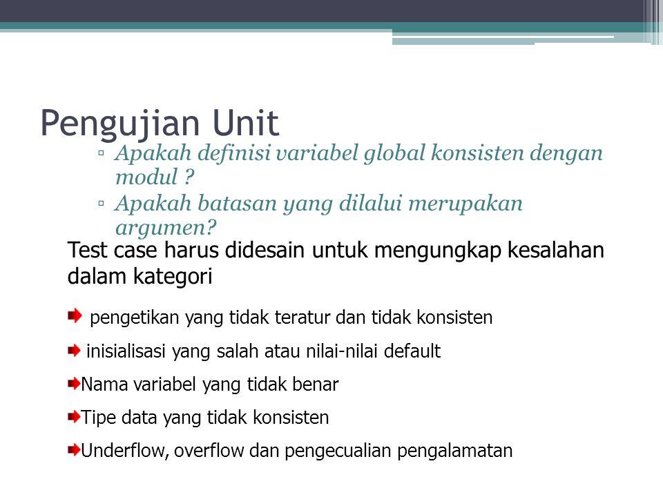 Pengujian Unit ▫Apakah definisi variabel global konsisten dengan modul ? ▫Apakah batasan yang dilalui merupakan argumen? Test case harus didesain untu
