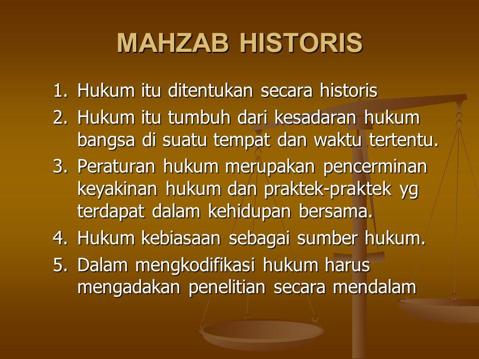 MAHZAB HISTORIS 1.Hukum itu ditentukan secara historis 2. Hukum itu tumbuh dari kesadaran hukum bangsa di suatu tempat dan waktu tertentu. 3. Peratura