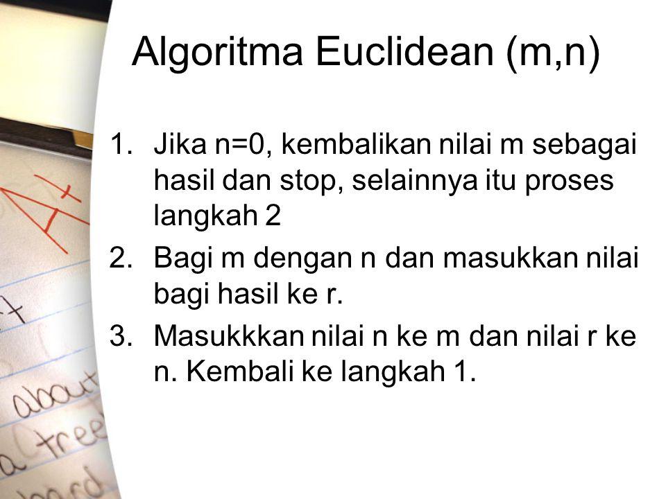 Algoritma Euclidean (m,n) 1.Jika n=0, kembalikan nilai m sebagai hasil dan stop, selainnya itu proses langkah 2 2.Bagi m dengan n dan masukkan nilai bagi hasil ke r.