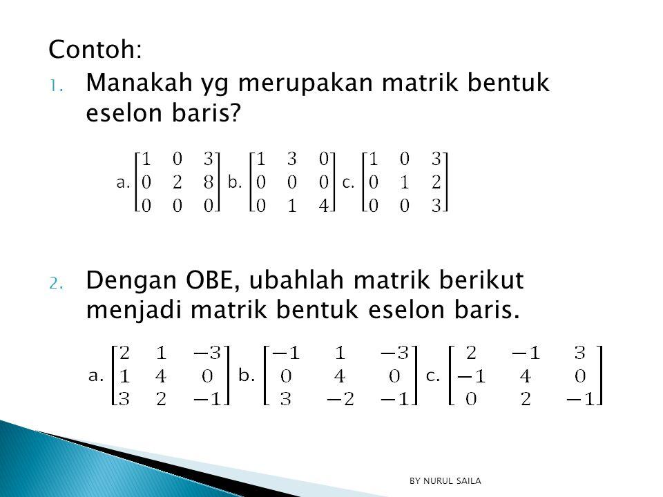 Contoh: 1. Manakah yg merupakan matrik bentuk eselon baris? 2. Dengan OBE, ubahlah matrik berikut menjadi matrik bentuk eselon baris. BY NURUL SAILA