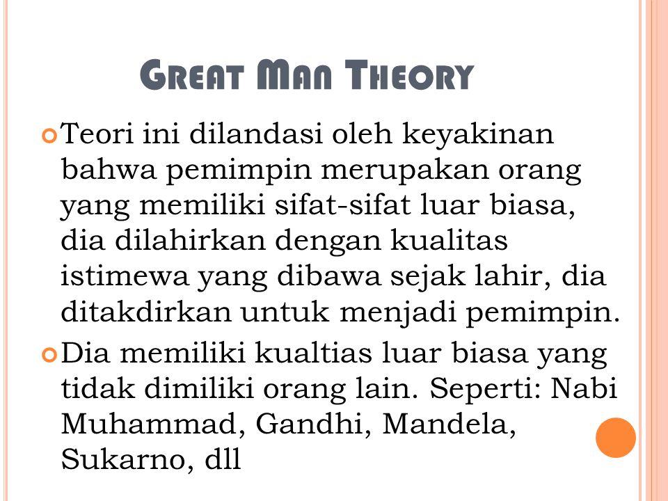 G REAT M AN T HEORY Teori ini dilandasi oleh keyakinan bahwa pemimpin merupakan orang yang memiliki sifat-sifat luar biasa, dia dilahirkan dengan kualitas istimewa yang dibawa sejak lahir, dia ditakdirkan untuk menjadi pemimpin.