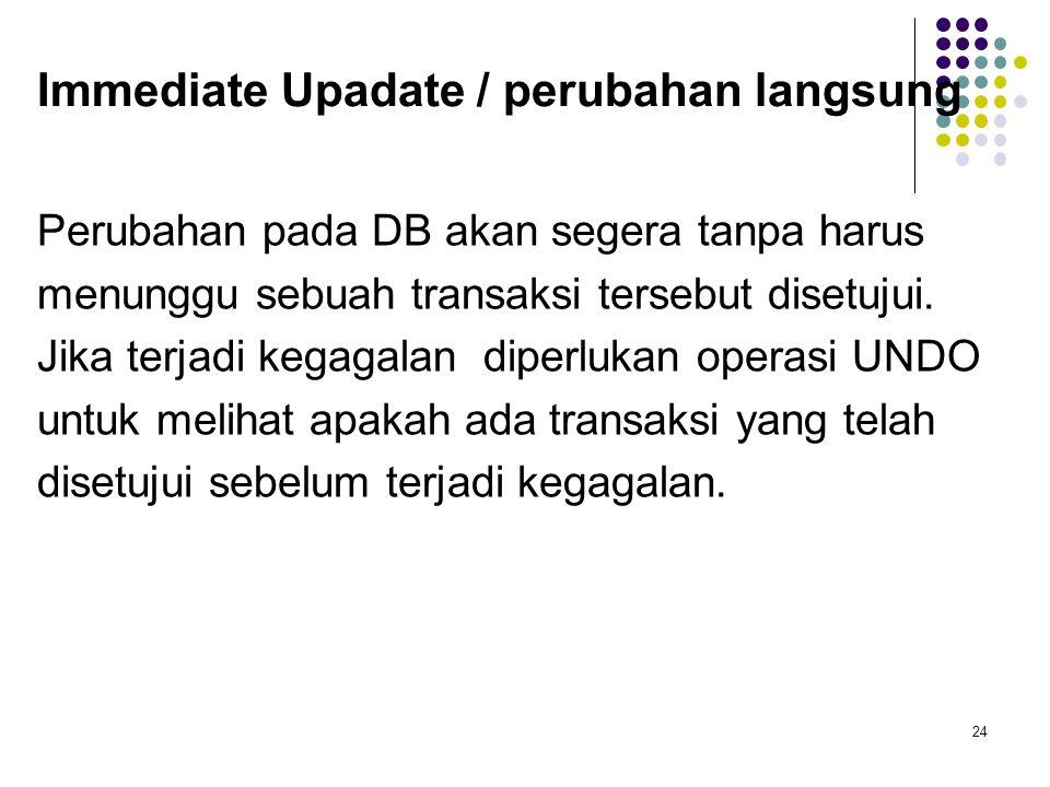 Immediate Upadate / perubahan langsung Perubahan pada DB akan segera tanpa harus menunggu sebuah transaksi tersebut disetujui.