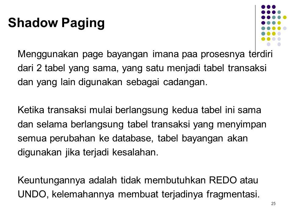 Shadow Paging Menggunakan page bayangan imana paa prosesnya terdiri dari 2 tabel yang sama, yang satu menjadi tabel transaksi dan yang lain digunakan sebagai cadangan.