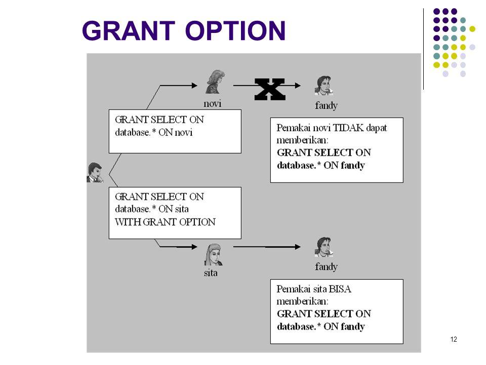 GRANT OPTION 12