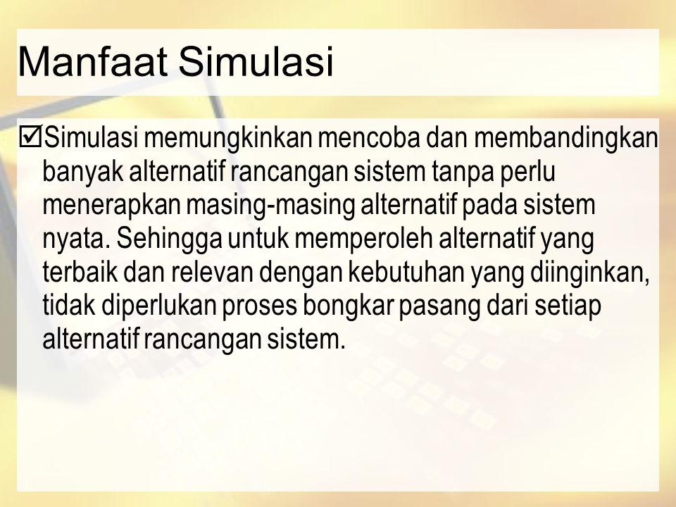Manfaat Simulasi  Simulasi memungkinkan mencoba dan membandingkan banyak alternatif rancangan sistem tanpa perlu menerapkan masing-masing alternatif