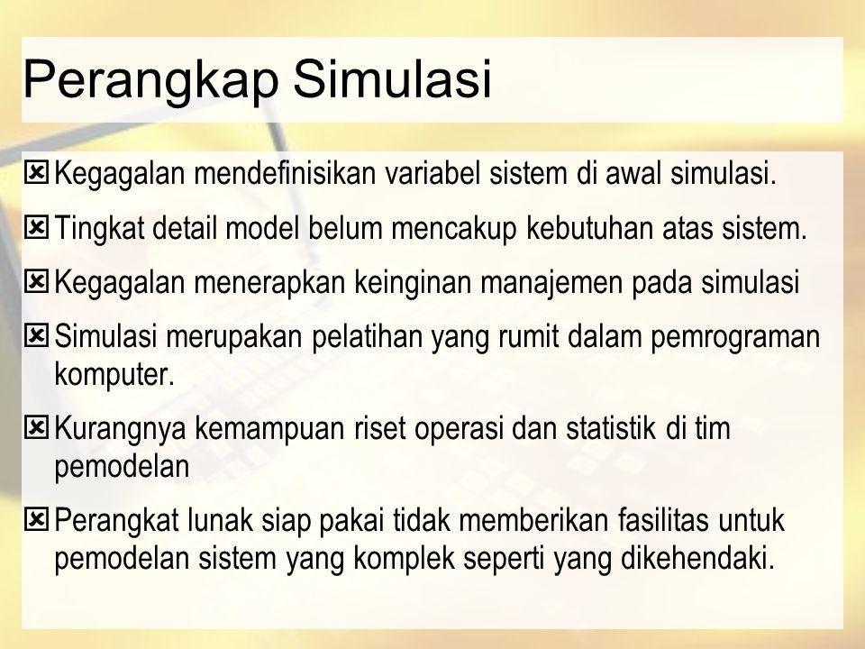 Perangkap Simulasi  Kegagalan mendefinisikan variabel sistem di awal simulasi.  Tingkat detail model belum mencakup kebutuhan atas sistem.  Kegagal