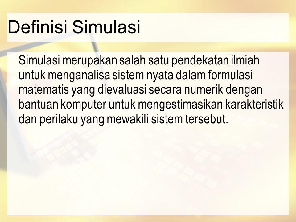 Definisi Simulasi Simulasi merupakan salah satu pendekatan ilmiah untuk menganalisa sistem nyata dalam formulasi matematis yang dievaluasi secara nume