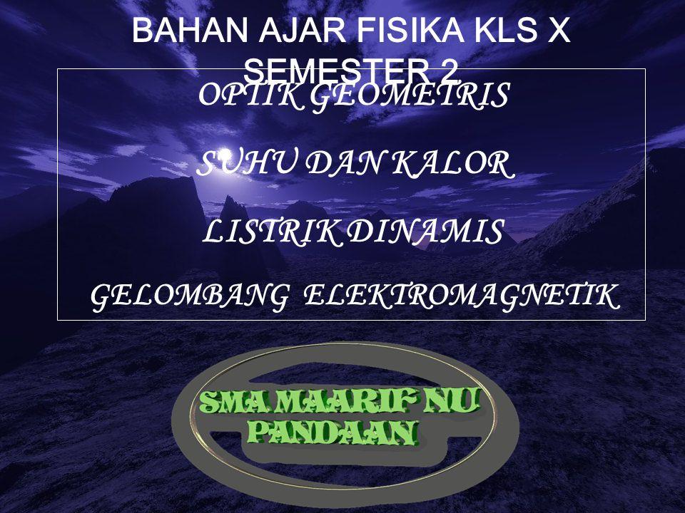 BAHAN AJAR FISIKA KLS X SEMESTER 2 OPTIK GEOMETRIS SUHU DAN KALOR LISTRIK DINAMIS GELOMBANG ELEKTROMAGNETIK
