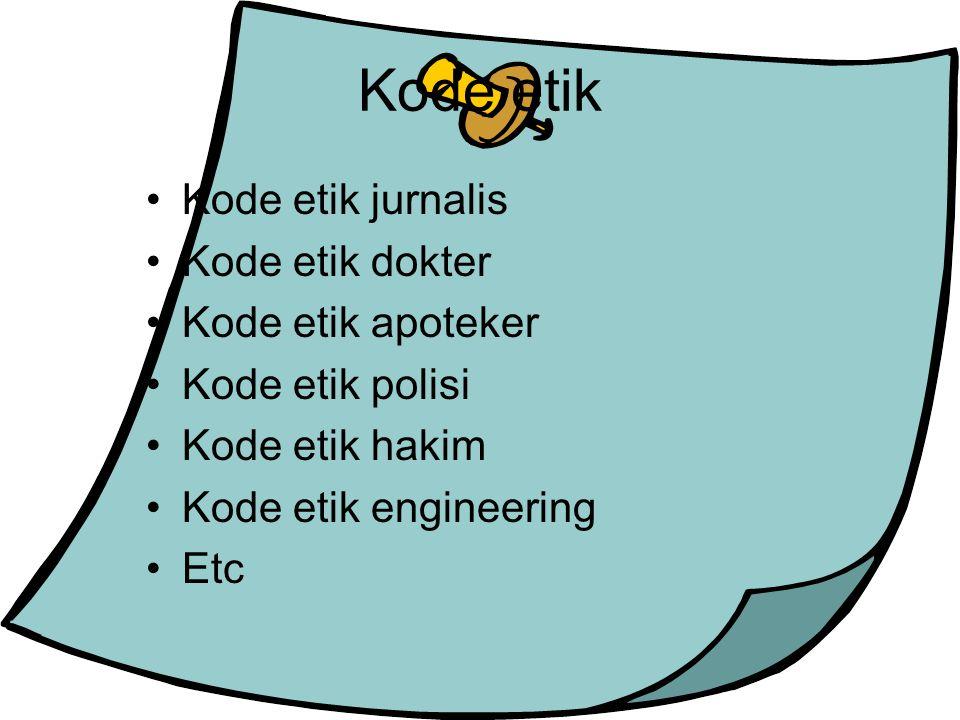 Kode etik Kode etik jurnalis Kode etik dokter Kode etik apoteker Kode etik polisi Kode etik hakim Kode etik engineering Etc