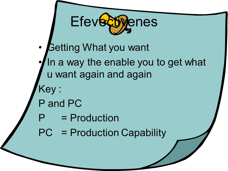 Efevectivenes Getting What you want In a way the enable you to get what u want again and again Key : P and PC P = Production PC = Production Capability