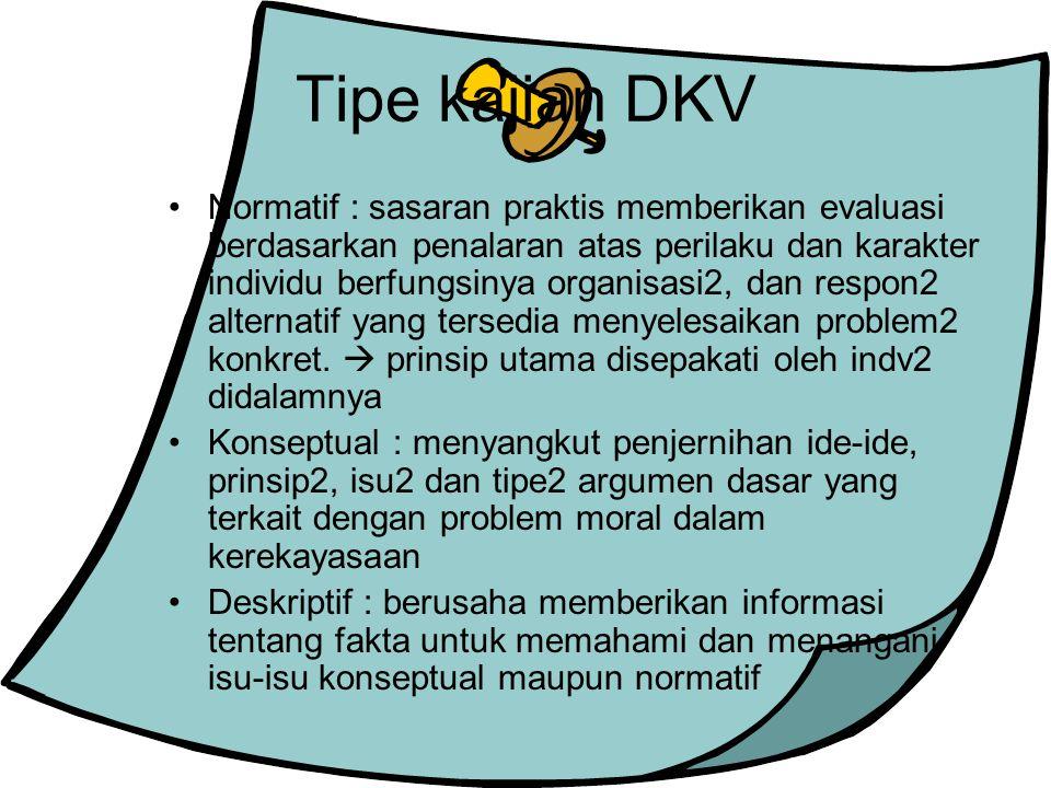 Tipe kajian DKV Normatif : sasaran praktis memberikan evaluasi berdasarkan penalaran atas perilaku dan karakter individu berfungsinya organisasi2, dan respon2 alternatif yang tersedia menyelesaikan problem2 konkret.