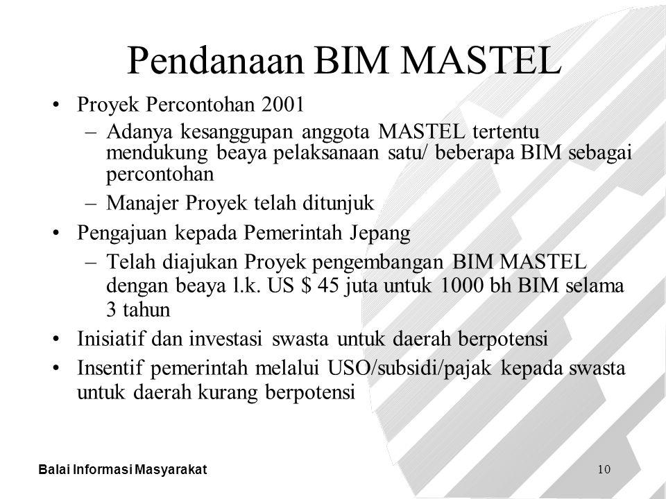 Balai Informasi Masyarakat 10 Pendanaan BIM MASTEL Proyek Percontohan 2001 –Adanya kesanggupan anggota MASTEL tertentu mendukung beaya pelaksanaan sat