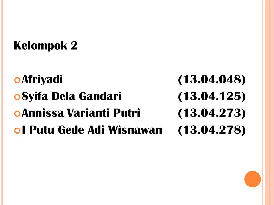 Kelompok 2 Afriyadi(13.04.048) Syifa Dela Gandari(13.04.125) Annissa Varianti Putri(13.04.273) I Putu Gede Adi Wisnawan(13.04.278)