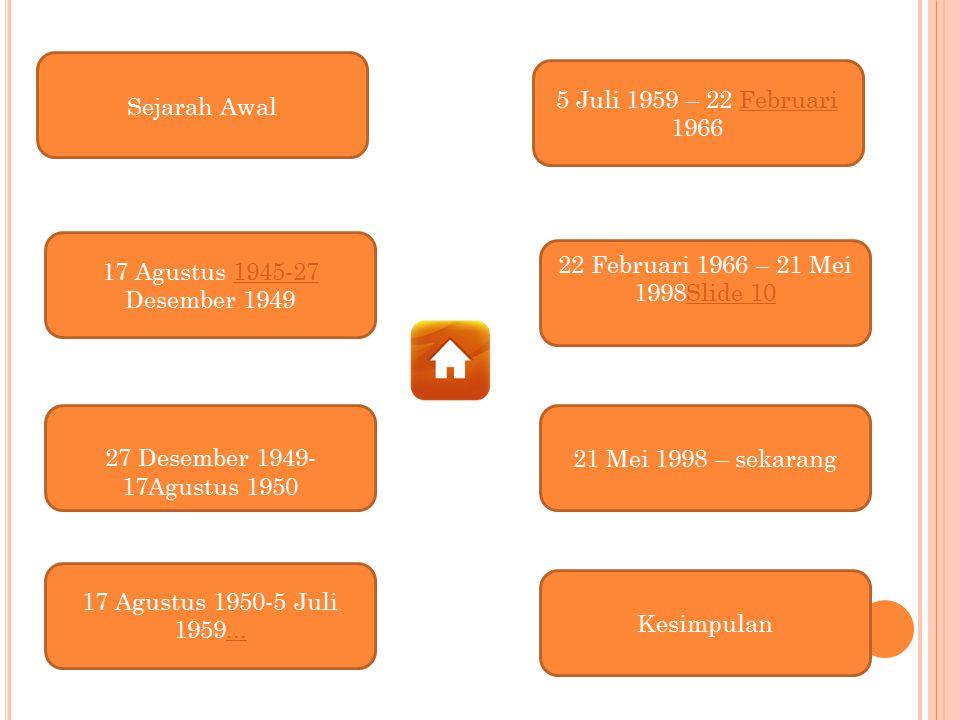 Kesimpulan 17 Agustus 1950-5 Juli 1959... 5 Juli 1959 – 22 Februari 1966Februari Sejarah Awal 27 Desember 1949- 17Agustus 1950 17 Agustus 1945-27 Dese