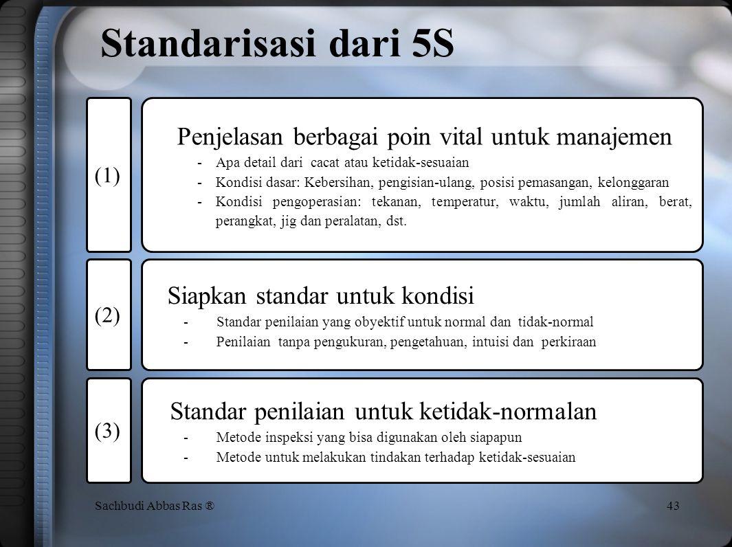 Definisi 42Sachbudi Abbas Ras ® Buat ketidak-biasaan mudah terlihat dalam poin manajemen SEIKETSU (Standarisasi) berarti: Penetapan standar dari 5S me