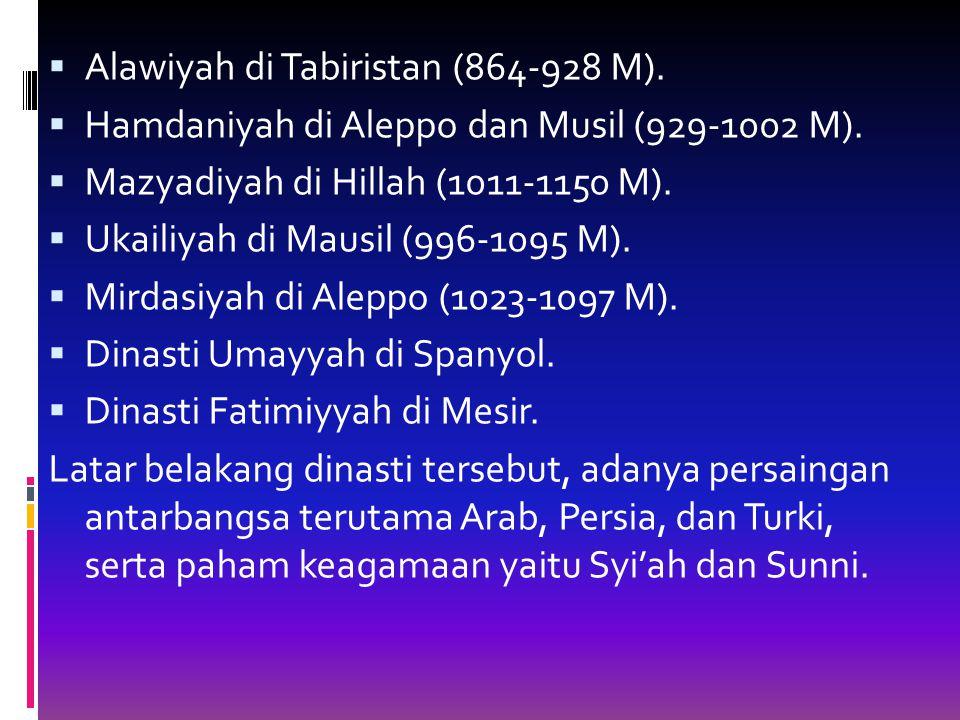  Alawiyah di Tabiristan (864-928 M). Hamdaniyah di Aleppo dan Musil (929-1002 M).