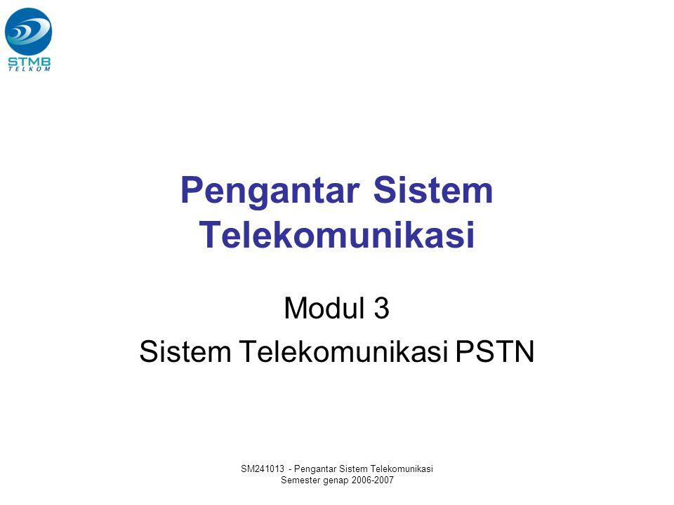 SM241013 - Pengantar Sistem Telekomunikasi Semester genap 2006-2007 Materi Definisi dan Model Referensi Hirarki Jaringan PSTN Topologi Jaringan (Mesh, Star, Lokal, Long Distance, PBX) Evolusi dan jenis Sentral Proses Penyambungan Pengenalan Penomoran Telepon Pengenalan Signaling