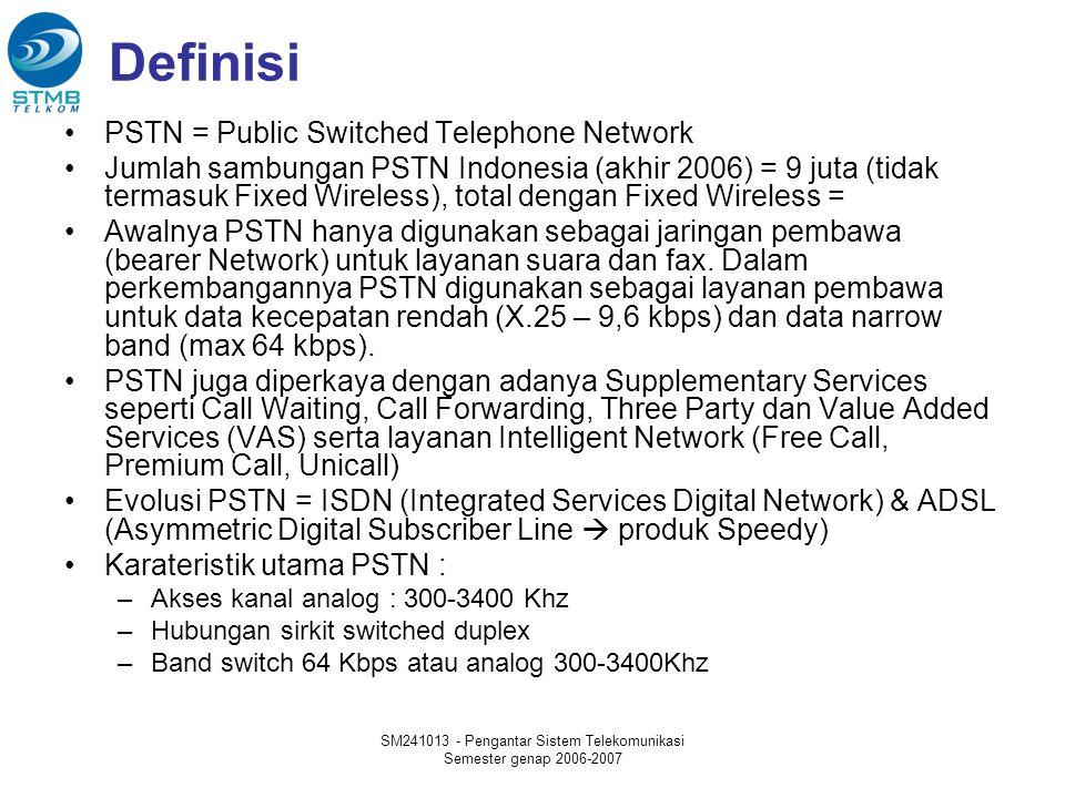 SM241013 - Pengantar Sistem Telekomunikasi Semester genap 2006-2007 Definisi PSTN = Public Switched Telephone Network Jumlah sambungan PSTN Indonesia