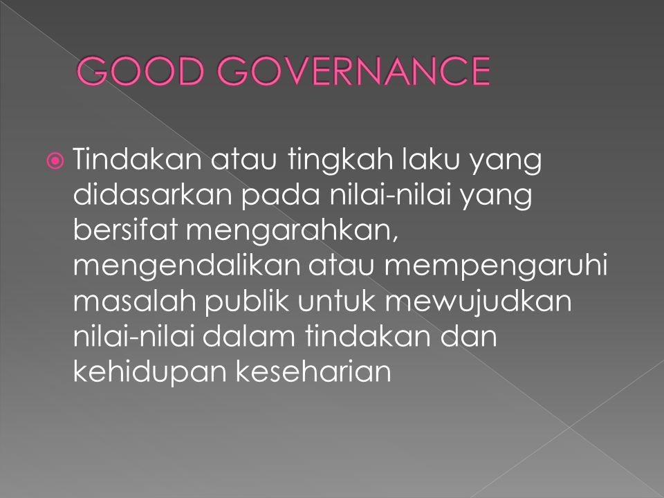  Tindakan atau tingkah laku yang didasarkan pada nilai-nilai yang bersifat mengarahkan, mengendalikan atau mempengaruhi masalah publik untuk mewujudk