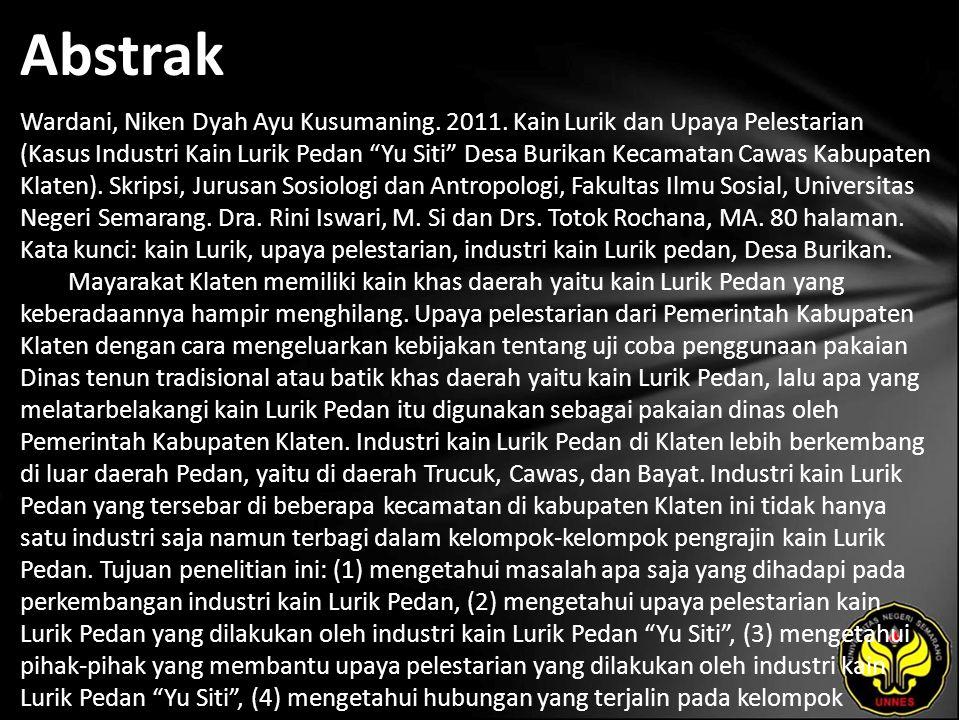 Abstrak Wardani, Niken Dyah Ayu Kusumaning. 2011.