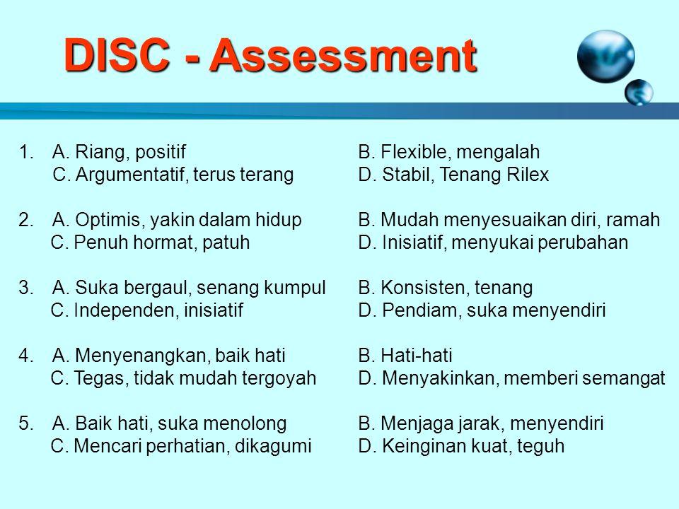 DISC - Assessment 1.A.Riang, positifB. Flexible, mengalah C.