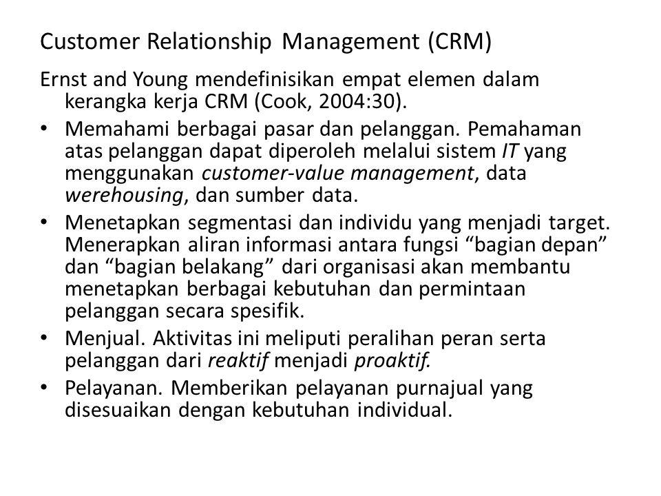 Customer Relationship Management (CRM) Ernst and Young mendefinisikan empat elemen dalam kerangka kerja CRM (Cook, 2004:30). Memahami berbagai pasar d