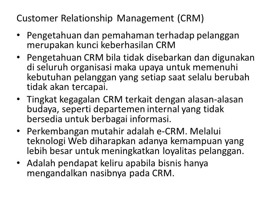 Customer Relationship Management (CRM) Pengetahuan dan pemahaman terhadap pelanggan merupakan kunci keberhasilan CRM Pengetahuan CRM bila tidak diseba