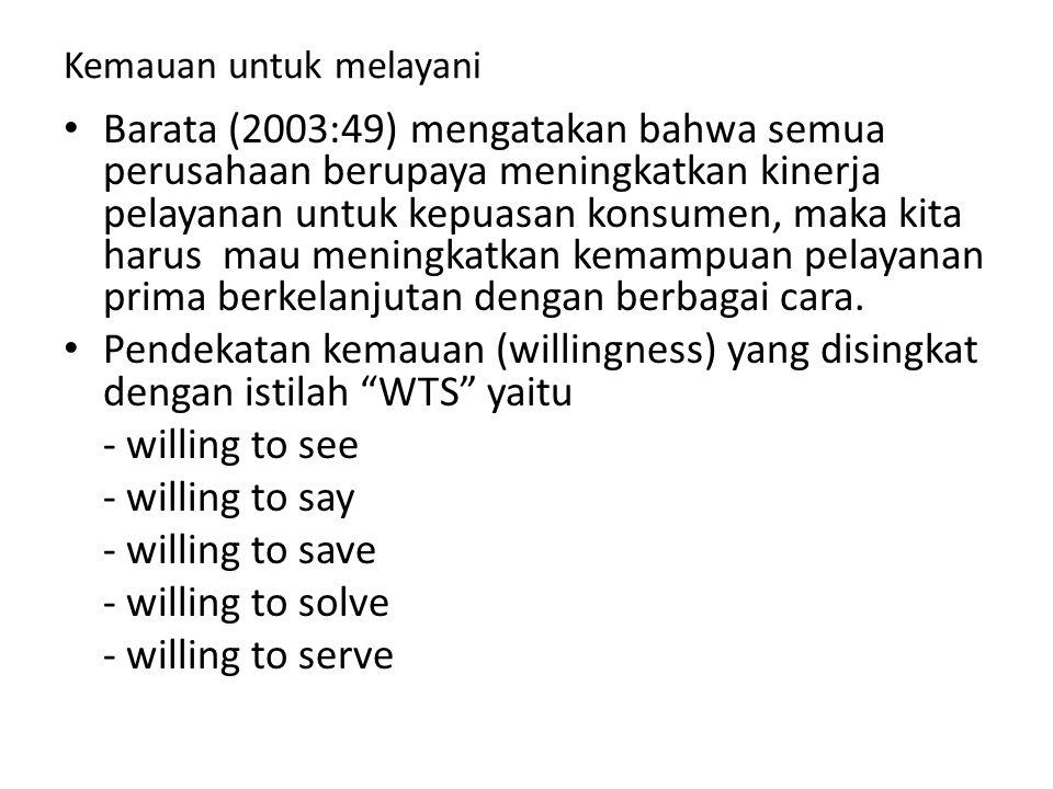 Kemauan untuk melayani Barata (2003:49) mengatakan bahwa semua perusahaan berupaya meningkatkan kinerja pelayanan untuk kepuasan konsumen, maka kita h