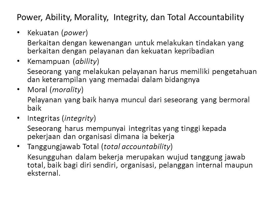 Power, Ability, Morality, Integrity, dan Total Accountability Kekuatan (power) Berkaitan dengan kewenangan untuk melakukan tindakan yang berkaitan den