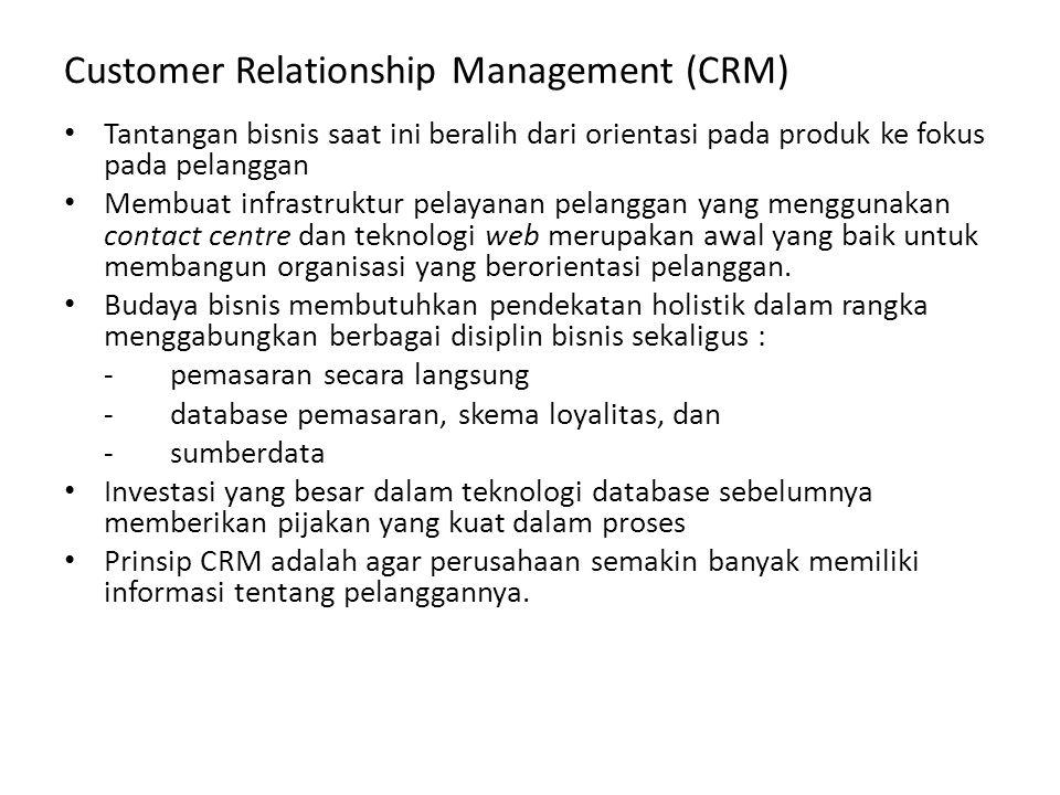 Customer Relationship Management (CRM) Menurut Profesor Adrian Payne, CRM merupakan proses strategis yang utuh dalam pengelolaan hubungan pelanggan oleh seluruh bagian perusahaan dengan mengidentifikasi segmen pelanggan yang diinginkan, baik segmen mikro atau pelanggan individu, berdasarkan orang per orang dengan mengembangkan berbagai program terintegrasi yang memaksimalkan nilai pelanggan pada organisasi melalui penambahan pelanggan yang ditargetkan, aktivitas peningkatan keuntungan, dan mempertahankan pelanggan.