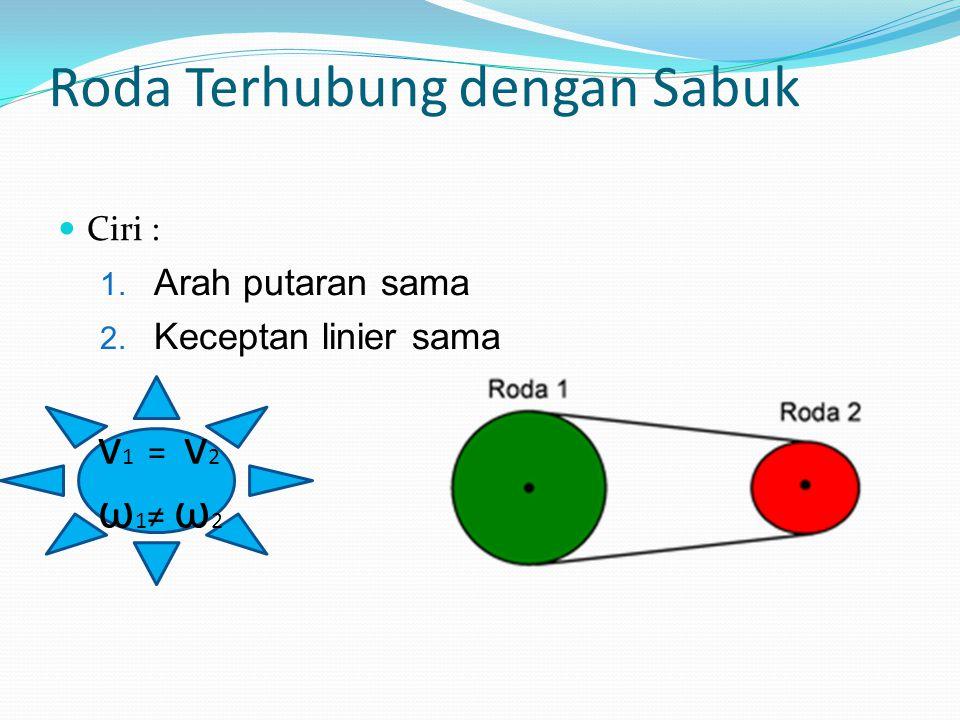 v 1 = v 2 ω 1 ≠ ω 2 Roda Terhubung dengan Sabuk Ciri : 1. Arah putaran sama 2. Keceptan linier sama
