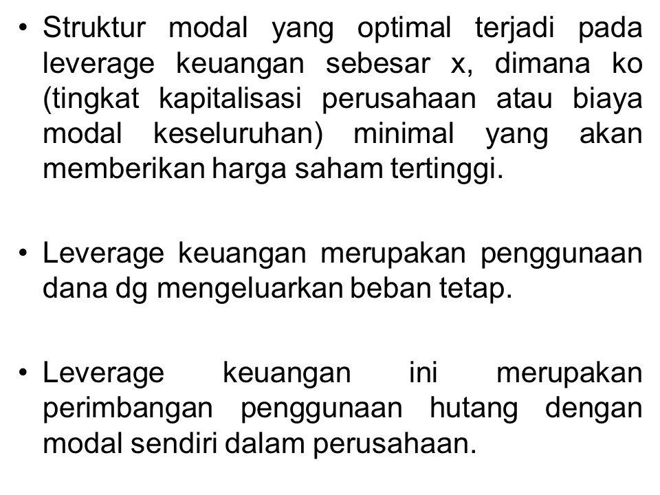 Asumsi yang digunakan dalam analisis struktur modal yaitu : 1.