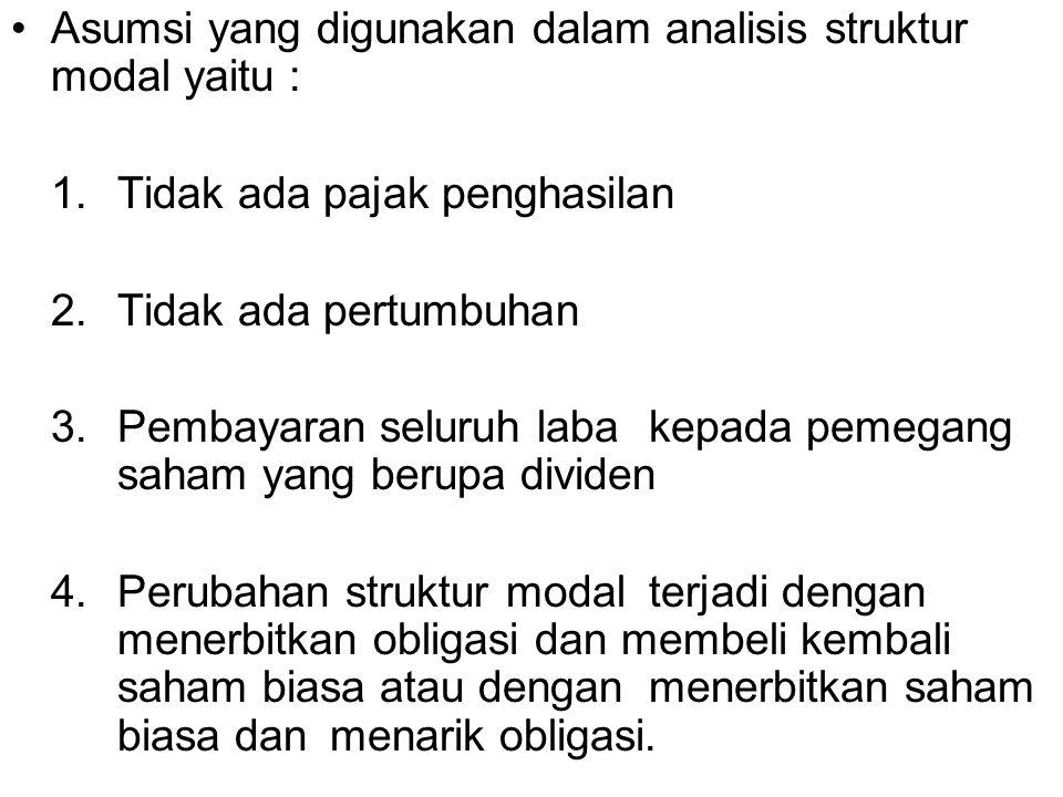 Asumsi yang digunakan dalam analisis struktur modal yaitu : 1. Tidak ada pajak penghasilan 2. Tidak ada pertumbuhan 3.Pembayaran seluruh laba kepada p