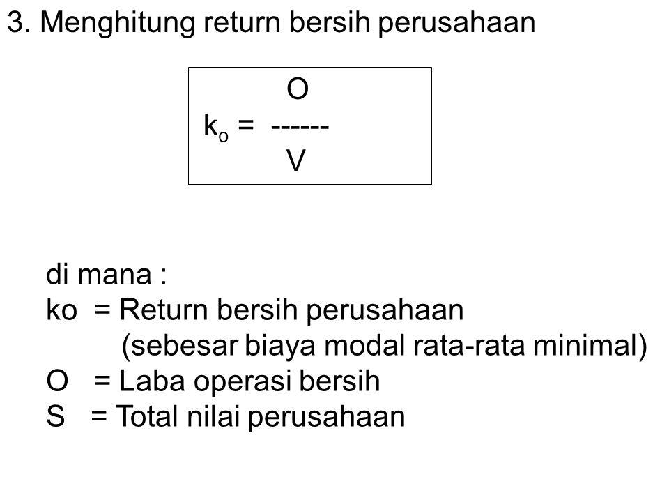 3. Menghitung return bersih perusahaan O k o = ------ V di mana : ko = Return bersih perusahaan (sebesar biaya modal rata-rata minimal) O = Laba opera